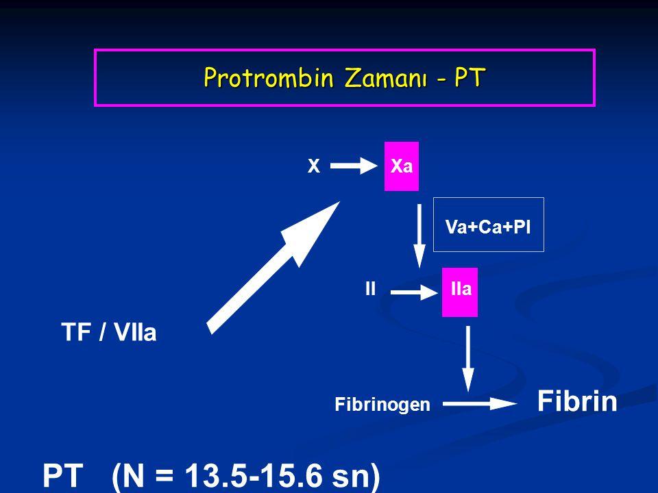 X Xa TF / VIIa II IIa Fibrinogen Fibrin Va+Ca+Pl PT (N = 13.5-15.6 sn) Protrombin Zamanı - PT