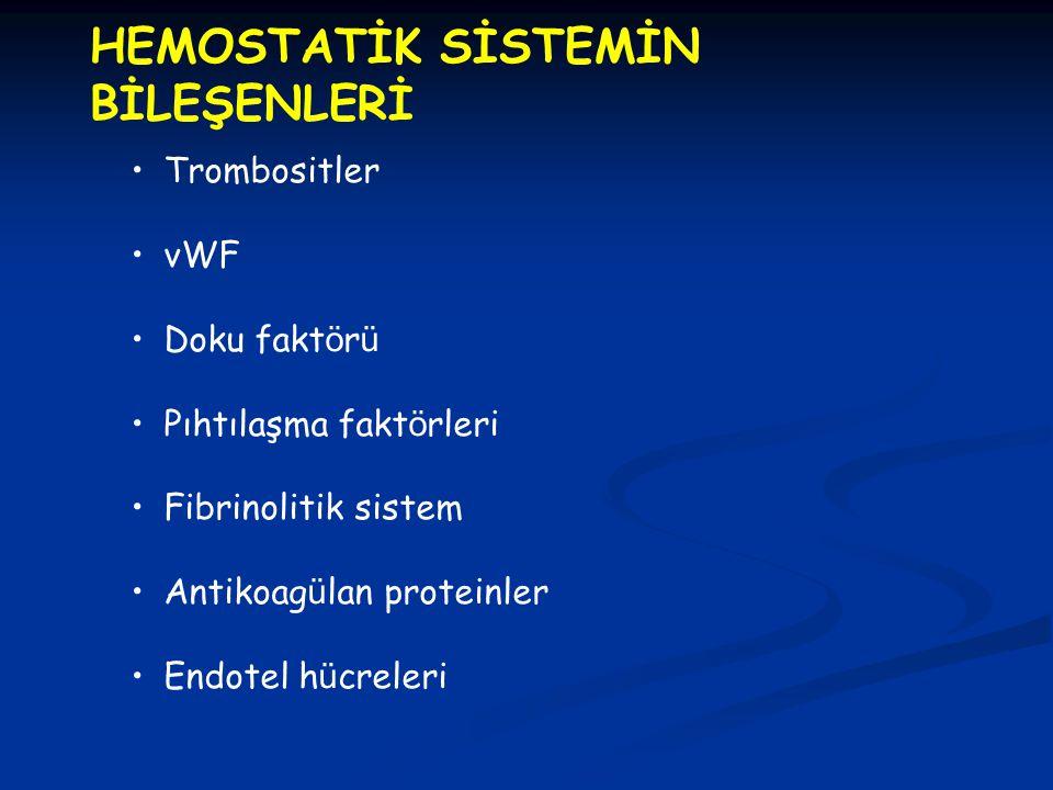 TROMBOFİLİ NEDENLERİ Edinsel Nedenler İleri yaş (65 yaş üstü) İleri yaş (65 yaş üstü) Heparine bağlı trombotik trombositopeni Heparine bağlı trombotik trombositopeni İmmobilite İmmobilite Antifosfolipid antikorlar Antifosfolipid antikorlar Postoperatif dönem Postoperatif dönem Lupus antikoagülan Lupus antikoagülan Oral kontraseptifler Oral kontraseptifler SLE, Renal yetmezlik SLE, Renal yetmezlik Gebelik Gebelik Diabetes Mellitus Diabetes Mellitus Major travma ve kırıklar Major travma ve kırıklar Cushing sendromu Cushing sendromu Variköz venler ve/veya venöz yetmezlik Variköz venler ve/veya venöz yetmezlik Karaciğer yetmezliği Karaciğer yetmezliği PNH PNH MI, SVO MI, SVO Ülseratif kolit Ülseratif kolit Nefrotik sendrom Nefrotik sendrom