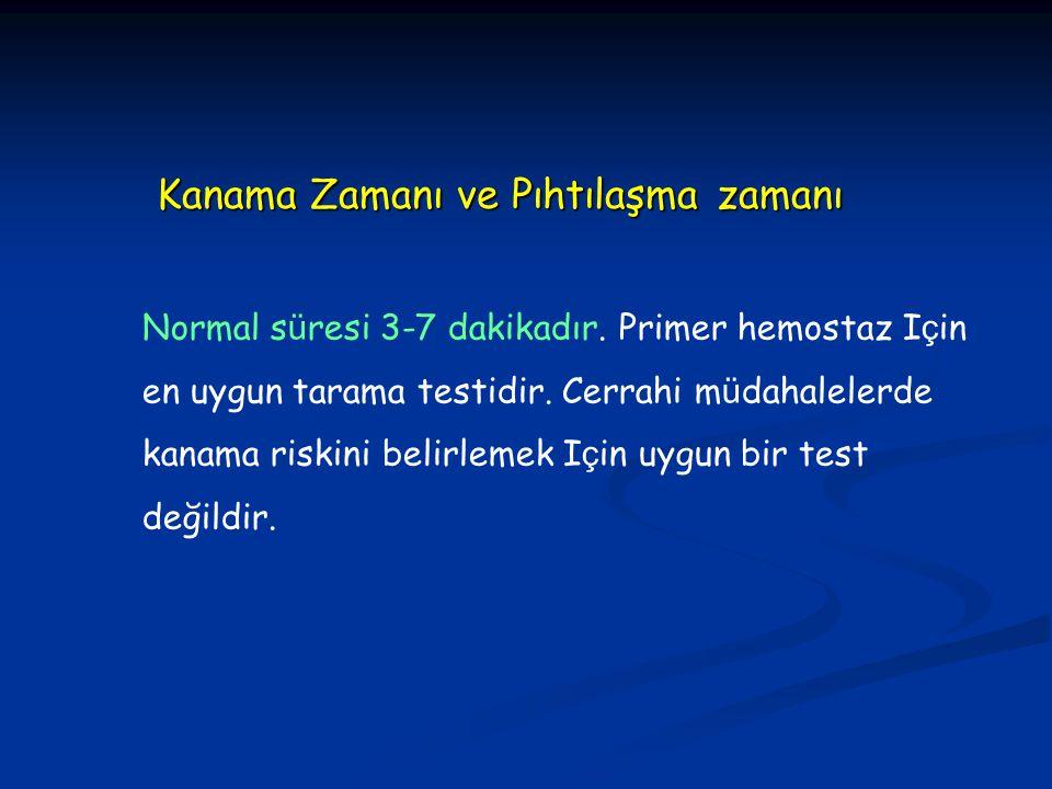 Normal s ü resi 3-7 dakikadır. Primer hemostaz I ç in en uygun tarama testidir. Cerrahi m ü dahalelerde kanama riskini belirlemek I ç in uygun bir tes