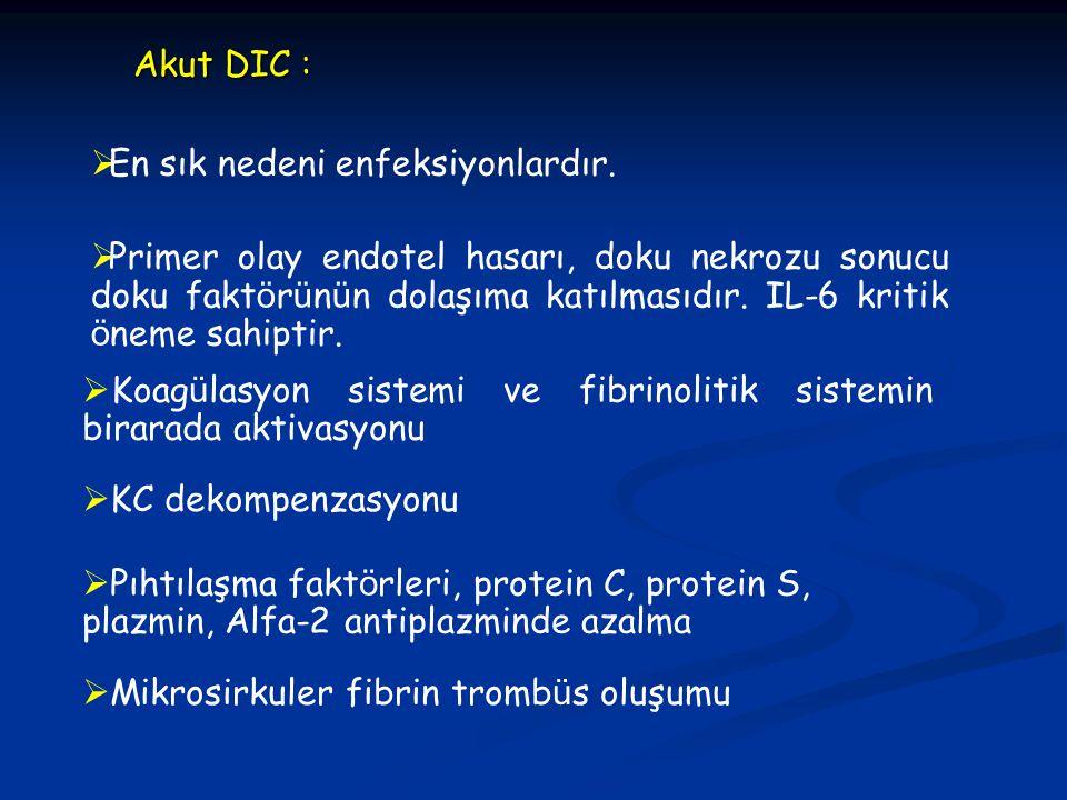  Koag ü lasyon sistemi ve fibrinolitik sistemin birarada aktivasyonu Akut DIC : Akut DIC :  KC dekompenzasyonu  Mikrosirkuler fibrin tromb ü s oluş
