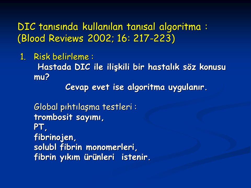 DIC tanısında kullanılan tanısal algoritma : (Blood Reviews 2002; 16: 217-223) 1.Risk belirleme : Hastada DIC ile ilişkili bir hastalık söz konusu mu?