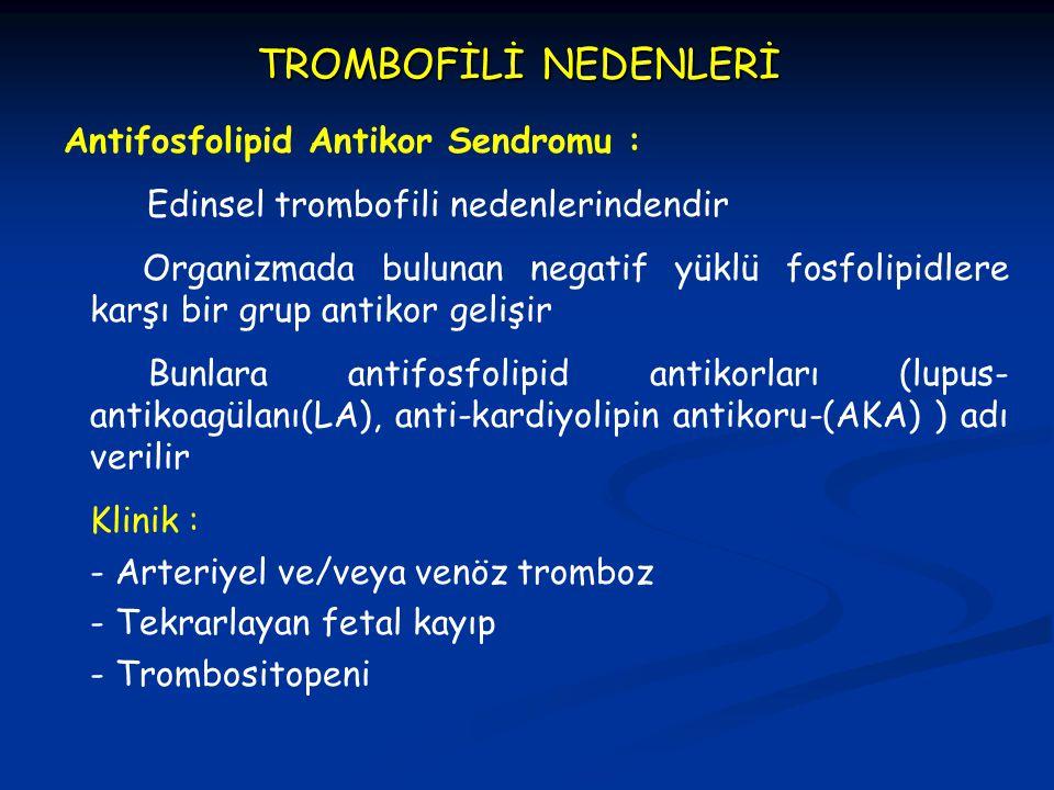 TROMBOFİLİ NEDENLERİ Antifosfolipid Antikor Sendromu : Edinsel trombofili nedenlerindendir Organizmada bulunan negatif yüklü fosfolipidlere karşı bir