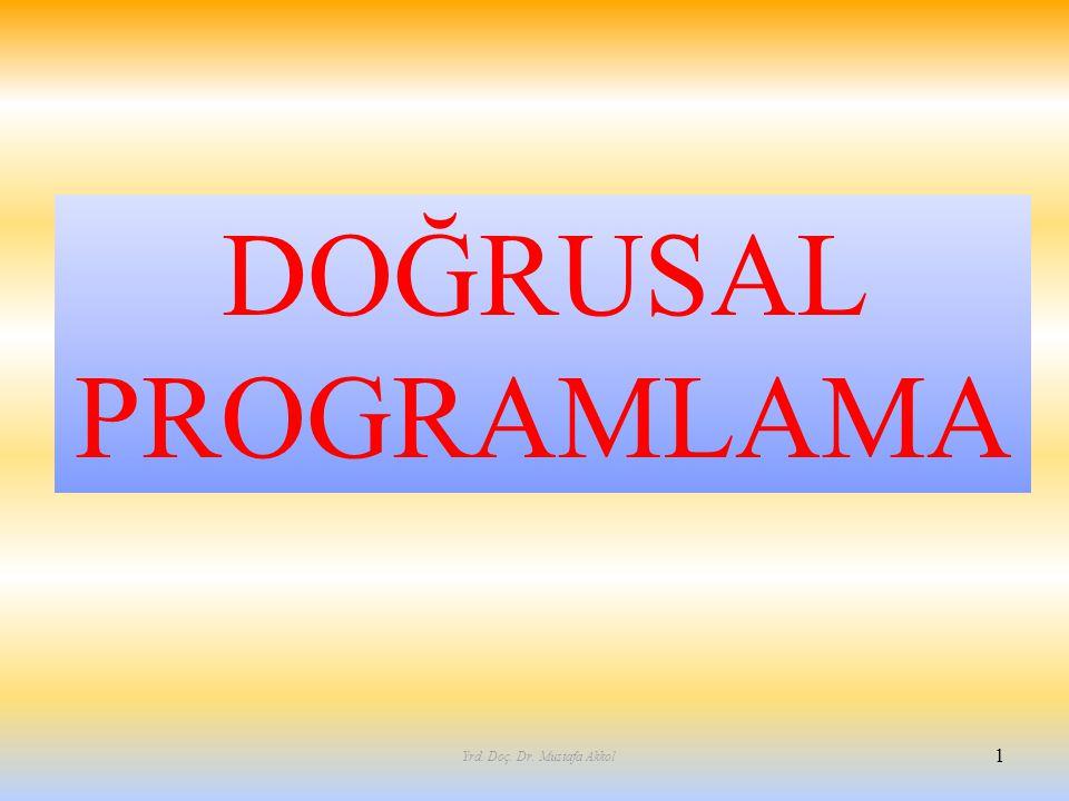 DOĞRUSAL PROGRAMLAMA 1 Yrd. Doç. Dr. Mustafa Akkol