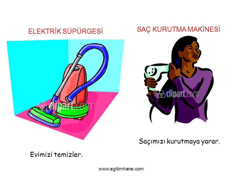 ELEKTRİK SÜPÜRGESİ Evimizi temizler. SAÇ KURUTMA MAKİNESİ Saçımızı kurutmaya yarar. www.egitimhane.com