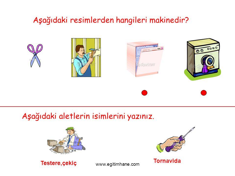 Aşağıdaki resimlerden hangileri makinedir? Aşağıdaki aletlerin isimlerini yazınız. Testere,çekiç Tornavida www.egitimhane.com