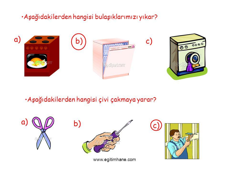 Aşağıdakilerden hangisi bulaşıklarımızı yıkar? a) b)c) Aşağıdakilerden hangisi çivi çakmaya yarar? a) b) c) www.egitimhane.com
