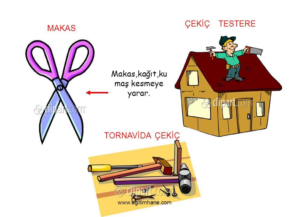 MAKAS ÇEKİÇ TESTERE TORNAVİDA ÇEKİÇ Makas,kağıt,ku maş kesmeye yarar. www.egitimhane.com