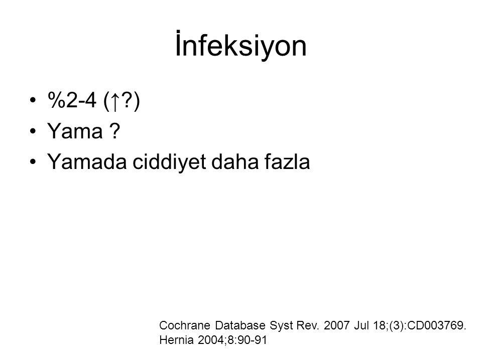 %2-4 (↑?) Yama ? Yamada ciddiyet daha fazla Cochrane Database Syst Rev. 2007 Jul 18;(3):CD003769. Hernia 2004;8:90-91