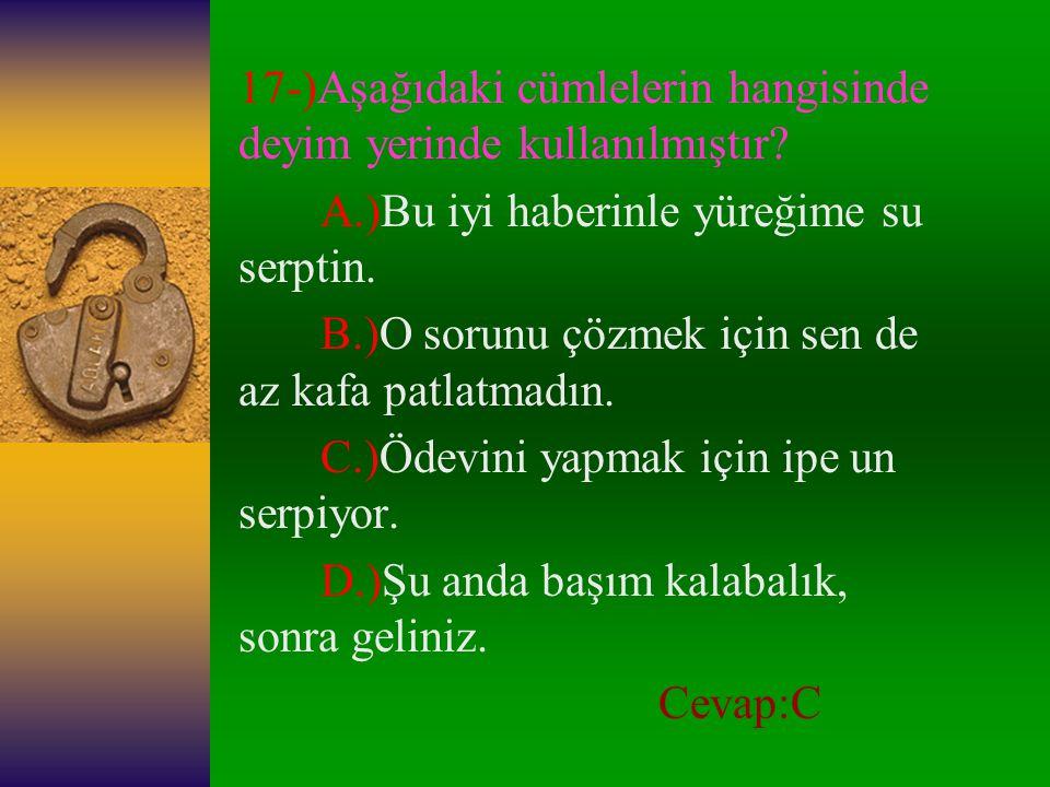 16-)Aşağıdaki cümlelerin hangisinde dil kelimesi ile yapılmış bir deyim vardır.