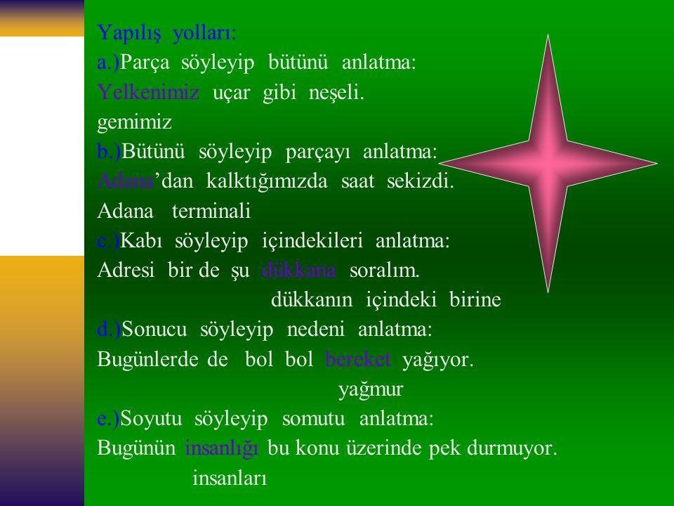 7-)Aşağıdaki kelime çiftlerinden hangisi, anlam ilişkisi bakımından diğerlerinden farklıdır.