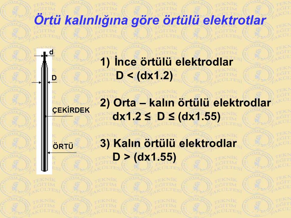 Örtü kalınlığına göre örtülü elektrotlar d D ÇEKİRDEK ÖRTÜ 1)İnce örtülü elektrodlar D < (dx1.2) 2) Orta – kalın örtülü elektrodlar dx1.2 ≤ D ≤ (dx1.5