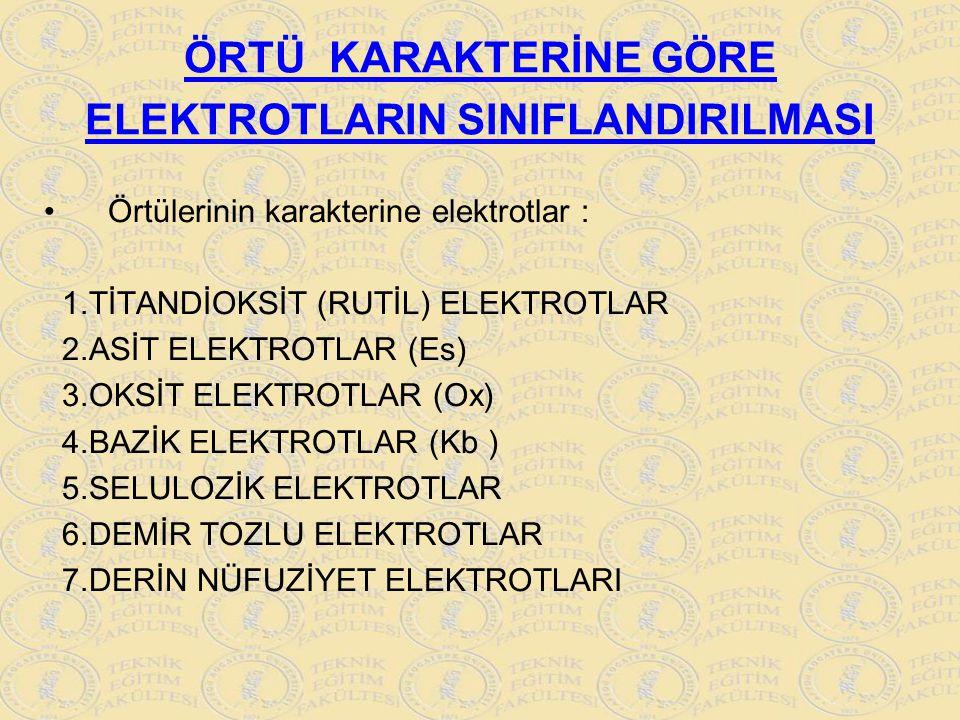 ÖRTÜ KARAKTERİNE GÖRE ELEKTROTLARIN SINIFLANDIRILMASI Örtülerinin karakterine elektrotlar : 1.TİTANDİOKSİT (RUTİL) ELEKTROTLAR 2.ASİT ELEKTROTLAR (Es)