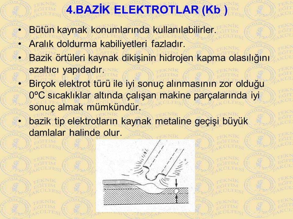 4.BAZİK ELEKTROTLAR (Kb ) Bütün kaynak konumlarında kullanılabilirler. Aralık doldurma kabiliyetleri fazladır. Bazik örtüleri kaynak dikişinin hidroje