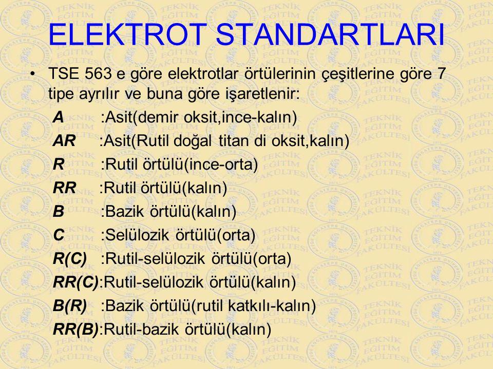 ELEKTROT STANDARTLARI TSE 563 e göre elektrotlar örtülerinin çeşitlerine göre 7 tipe ayrılır ve buna göre işaretlenir: A :Asit(demir oksit,ince-kalın)