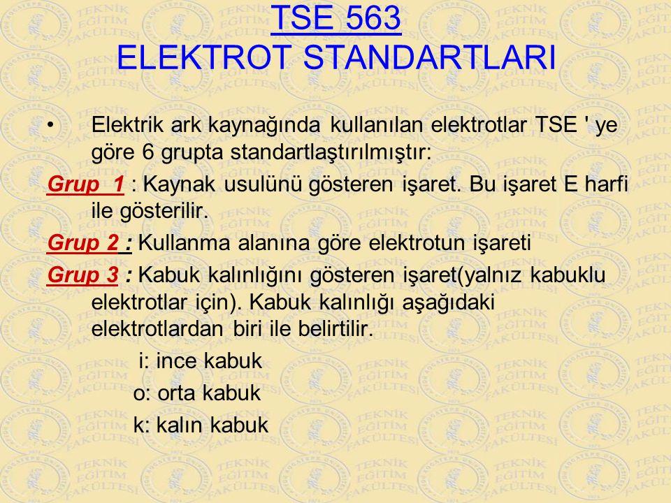 TSE 563 ELEKTROT STANDARTLARI Elektrik ark kaynağında kullanılan elektrotlar TSE ' ye göre 6 grupta standartlaştırılmıştır: Grup 1 : Kaynak usulünü gö