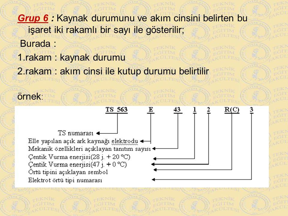 Grup 6 : Kaynak durumunu ve akım cinsini belirten bu işaret iki rakamlı bir sayı ile gösterilir; Burada : 1.rakam : kaynak durumu 2.rakam : akım cinsi