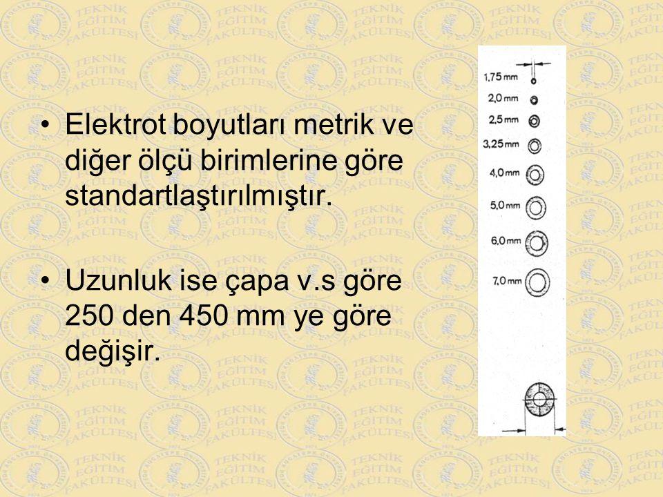 Elektrot boyutları metrik ve diğer ölçü birimlerine göre standartlaştırılmıştır. Uzunluk ise çapa v.s göre 250 den 450 mm ye göre değişir.
