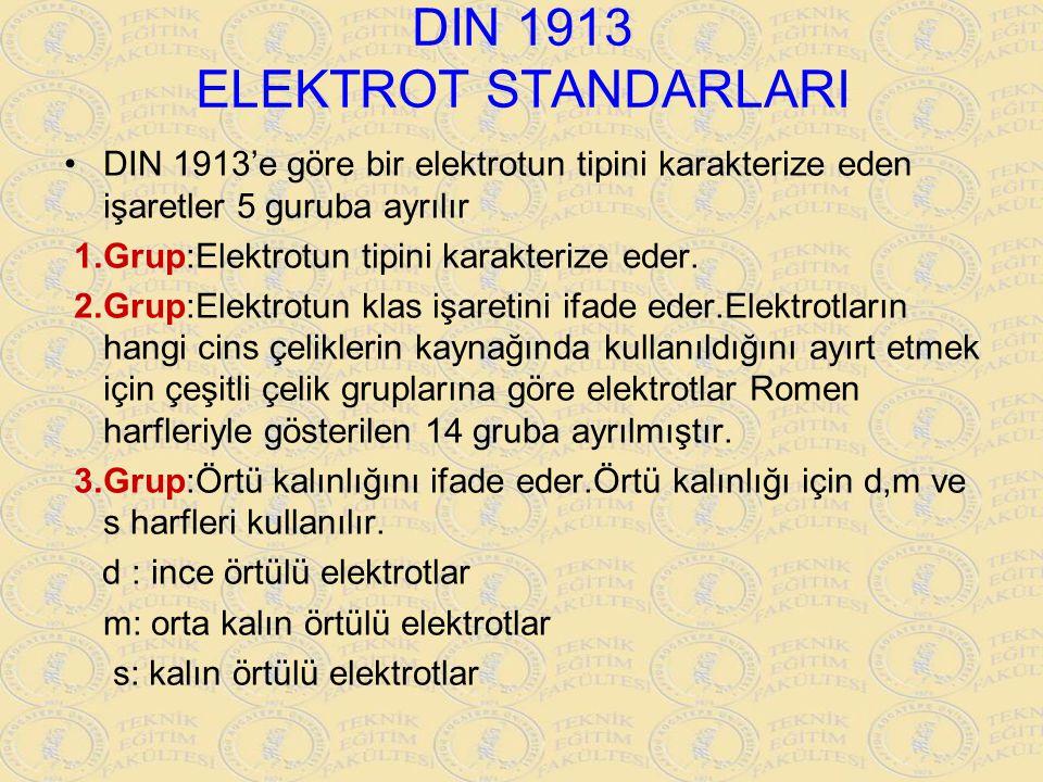 DIN 1913 ELEKTROT STANDARLARI DIN 1913'e göre bir elektrotun tipini karakterize eden işaretler 5 guruba ayrılır 1.Grup:Elektrotun tipini karakterize e