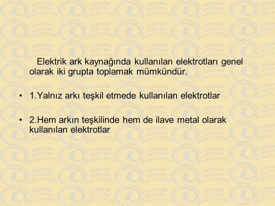 Elektrik ark kaynağında kullanılan elektrotları genel olarak iki grupta toplamak mümkündür. 1.Yalnız arkı teşkil etmede kullanılan elektrotlar 2.Hem a