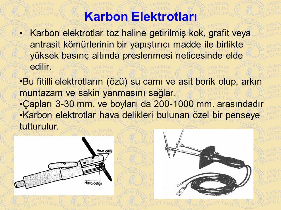 Karbon Elektrotları Karbon elektrotlar toz haline getirilmiş kok, grafit veya antrasit kömürlerinin bir yapıştırıcı madde ile birlikte yüksek basınç a