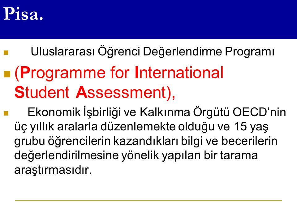 Pisa. Uluslararası Öğrenci Değerlendirme Programı (Programme for International Student Assessment), Ekonomik İşbirliği ve Kalkınma Örgütü OECD'nin üç