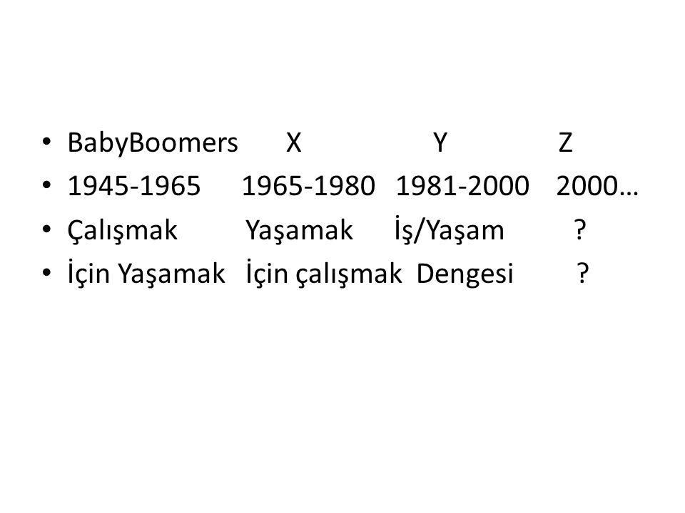BabyBoomers X Y Z 1945-1965 1965-1980 1981-2000 2000… Çalışmak Yaşamak İş/Yaşam ? İçin Yaşamak İçin çalışmak Dengesi ?