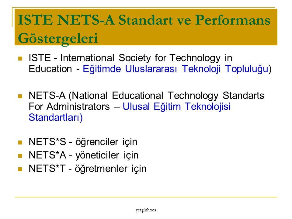 yetginhoca ISTE NETS-A Standart ve Performans Göstergeleri ISTE - International Society for Technology in Education - Eğitimde Uluslararası Teknoloji