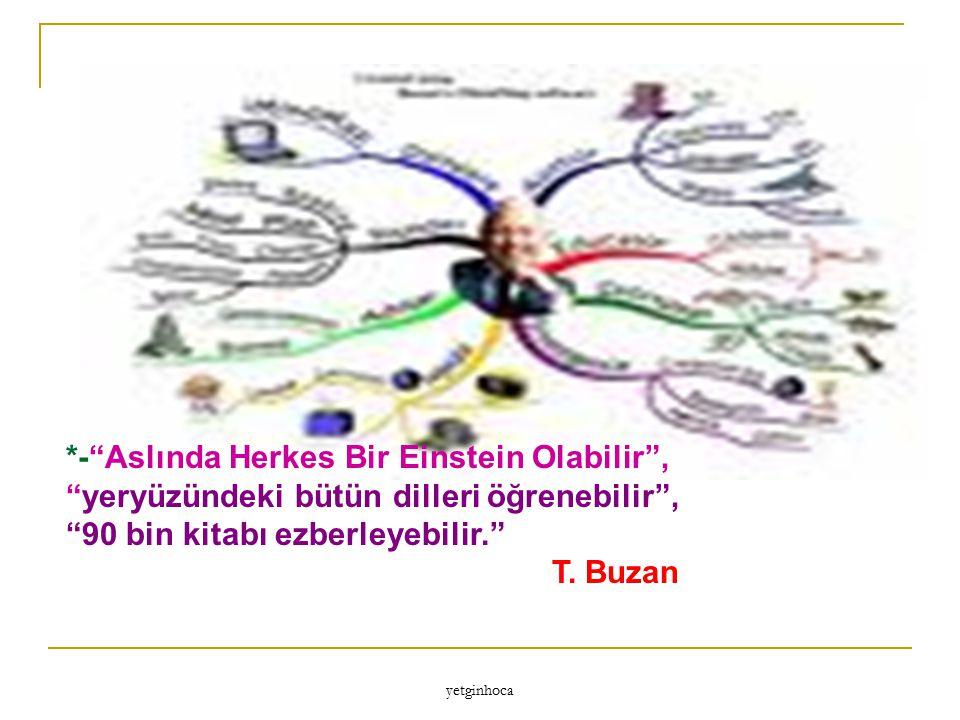 """yetginhoca *-""""Aslında Herkes Bir Einstein Olabilir"""", """"yeryüzündeki bütün dilleri öğrenebilir"""", """"90 bin kitabı ezberleyebilir."""" T. Buzan"""