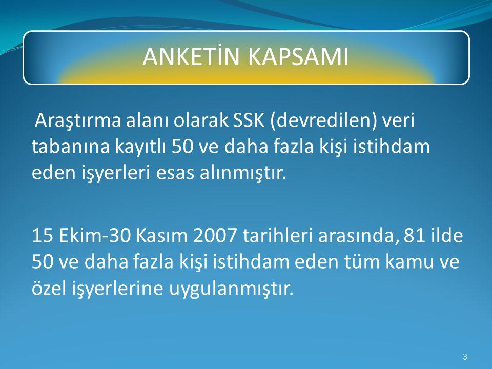 ANKETİN KAPSAMI Araştırma alanı olarak SSK (devredilen) veri tabanına kayıtlı 50 ve daha fazla kişi istihdam eden işyerleri esas alınmıştır.