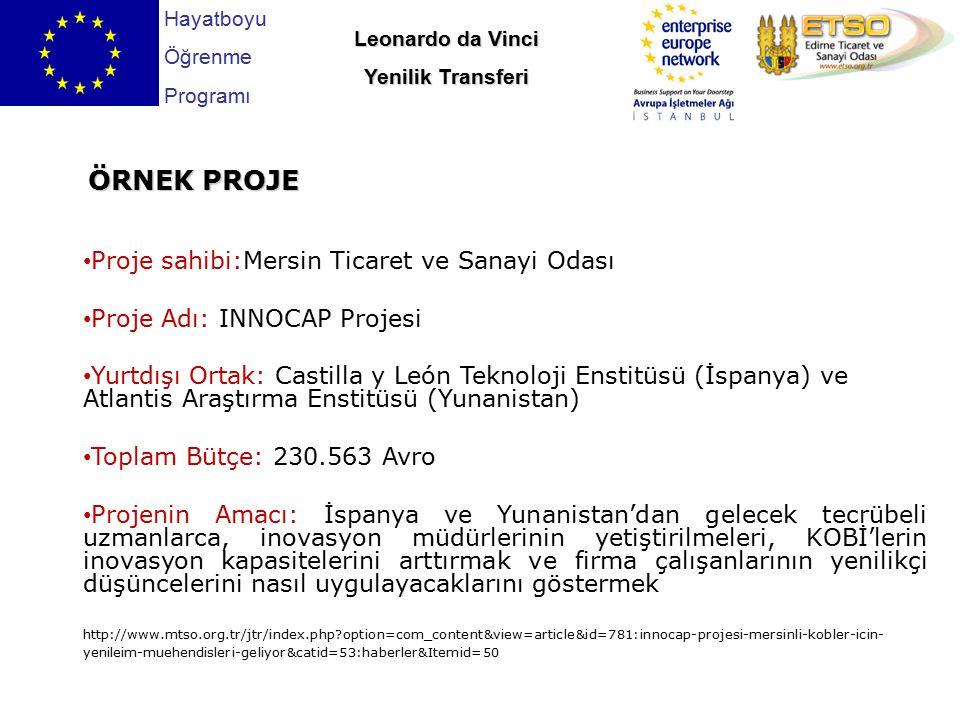Proje sahibi:Mersin Ticaret ve Sanayi Odası Proje Adı: INNOCAP Projesi Yurtdışı Ortak: Castilla y León Teknoloji Enstitüsü (İspanya) ve Atlantis Araşt
