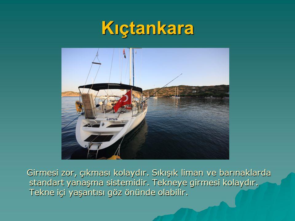 Kıçtankara Girmesi zor, çıkması kolaydır. Sıkışık liman ve barınaklarda standart yanaşma sistemidir. Tekneye girmesi kolaydır. Tekne içi yaşantısı göz
