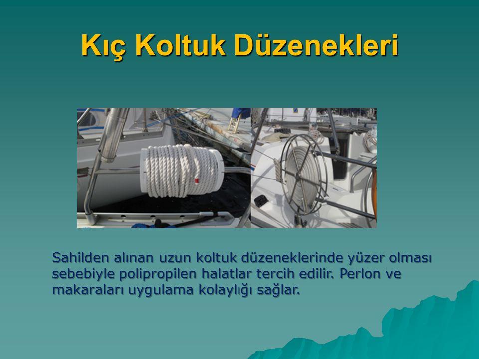 Kıç Koltuk Düzenekleri Sahilden alınan uzun koltuk düzeneklerinde yüzer olması sebebiyle polipropilen halatlar tercih edilir. Perlon ve makaraları uyg
