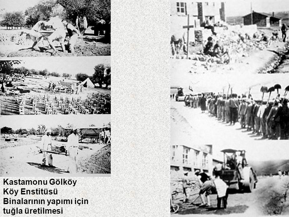Çadırlı Köy Enstitüsü Hasanoğlan Köy Enstitüsü'ne İdris Dağı'ndan su getiriliyor Dağlarda taşlar kırılıyor, Elden ele okula taşınıyordu (Pazarören Köy Enstitüsü)