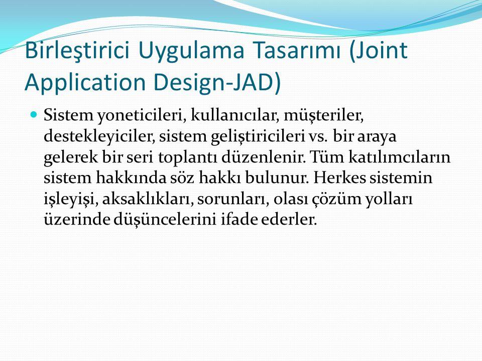 Birleştirici Uygulama Tasarımı (Joint Application Design-JAD) Sistem yoneticileri, kullanıcılar, müşteriler, destekleyiciler, sistem geliştiricileri v