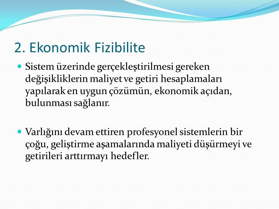 2. Ekonomik Fizibilite Sistem üzerinde gerçekleştirilmesi gereken değişikliklerin maliyet ve getiri hesaplamaları yapılarak en uygun çözümün, ekonomik