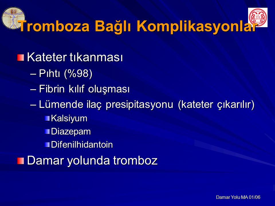 Damar Yolu MA 01/06 Tromboza Bağlı Komplikasyonlar Kateter tıkanması –Pıhtı (%98) –Fibrin kılıf oluşması –Lümende ilaç presipitasyonu (kateter çıkarılır) KalsiyumDiazepamDifenilhidantoin Damar yolunda tromboz