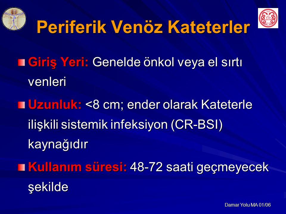 Damar Yolu MA 01/06 Periferik Venöz Kateterler Giriş Yeri: Genelde önkol veya el sırtı venleri Uzunluk: <8 cm; ender olarak Kateterle ilişkili sistemik infeksiyon (CR-BSI) kaynağıdır Kullanım süresi: 48-72 saati geçmeyecek şekilde
