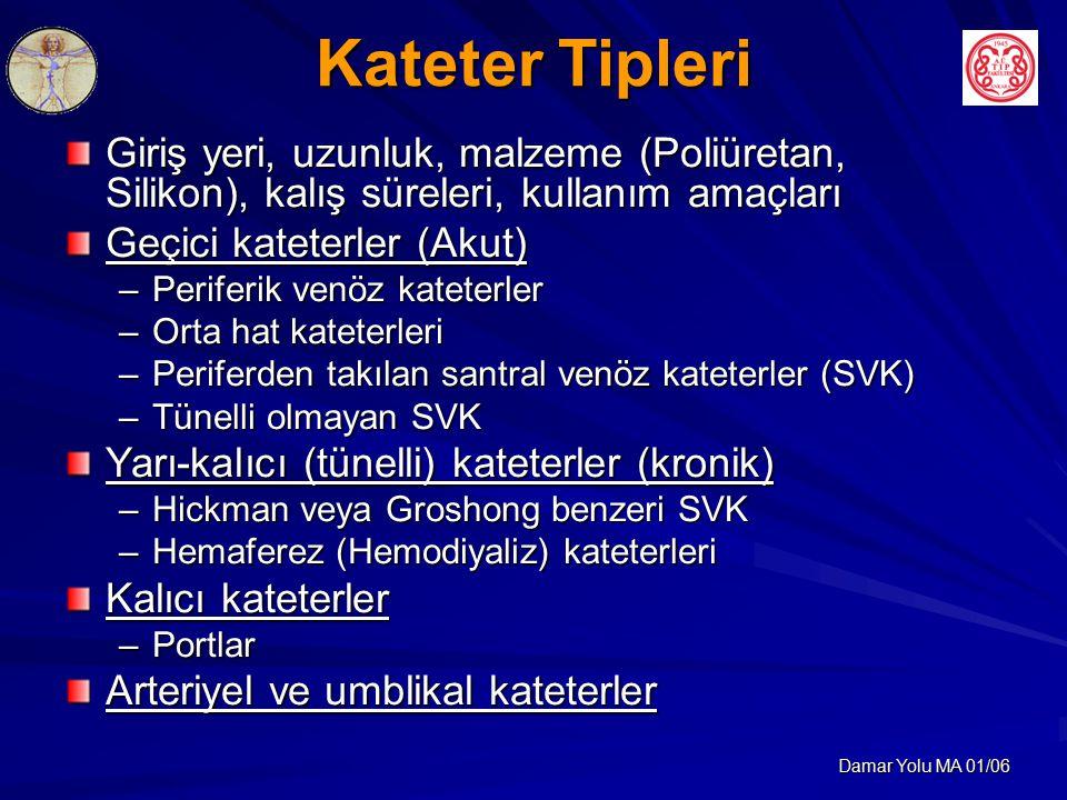 Damar Yolu MA 01/06 Kateter Tipleri Giriş yeri, uzunluk, malzeme (Poliüretan, Silikon), kalış süreleri, kullanım amaçları Geçici kateterler (Akut) –Periferik venöz kateterler –Orta hat kateterleri –Periferden takılan santral venöz kateterler (SVK) –Tünelli olmayan SVK Yarı-kalıcı (tünelli) kateterler (kronik) –Hickman veya Groshong benzeri SVK –Hemaferez (Hemodiyaliz) kateterleri Kalıcı kateterler –Portlar Arteriyel ve umblikal kateterler