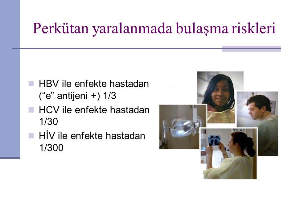 """Perkütan yaralanmada bulaşma riskleri HBV ile enfekte hastadan (""""e"""" antijeni +) 1/3 HCV ile enfekte hastadan 1/30 HİV ile enfekte hastadan 1/300"""