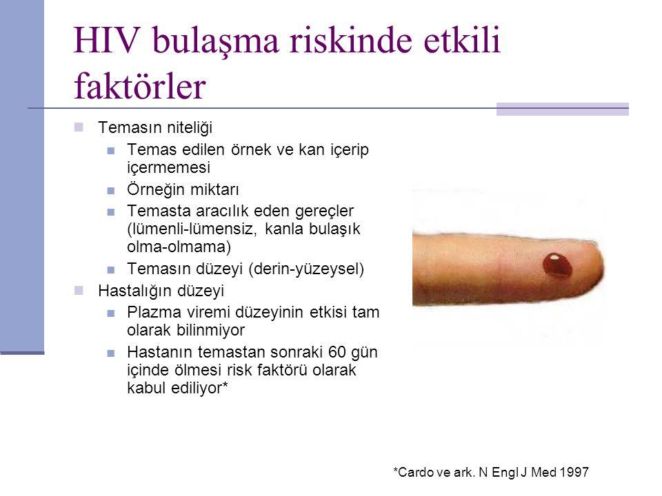 HIV bulaşma riskinde etkili faktörler Temasın niteliği Temas edilen örnek ve kan içerip içermemesi Örneğin miktarı Temasta aracılık eden gereçler (lüm
