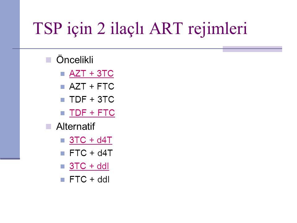 TSP için 2 ilaçlı ART rejimleri Öncelikli AZT + 3TC AZT + FTC TDF + 3TC TDF + FTC Alternatif 3TC + d4T FTC + d4T 3TC + ddI FTC + ddI
