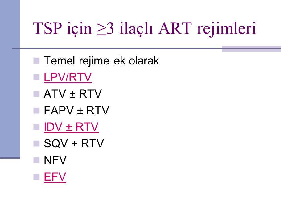 TSP için ≥3 ilaçlı ART rejimleri Temel rejime ek olarak LPV/RTV ATV ± RTV FAPV ± RTV IDV ± RTV SQV + RTV NFV EFV