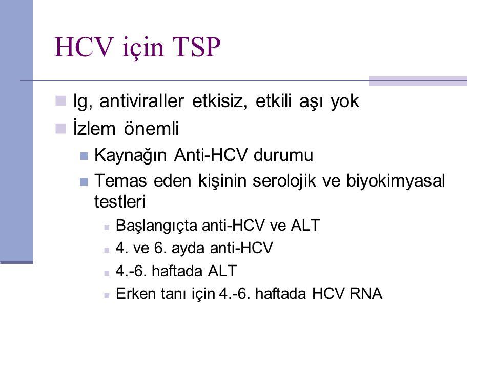 HCV için TSP Ig, antiviraller etkisiz, etkili aşı yok İzlem önemli Kaynağın Anti-HCV durumu Temas eden kişinin serolojik ve biyokimyasal testleri Başl