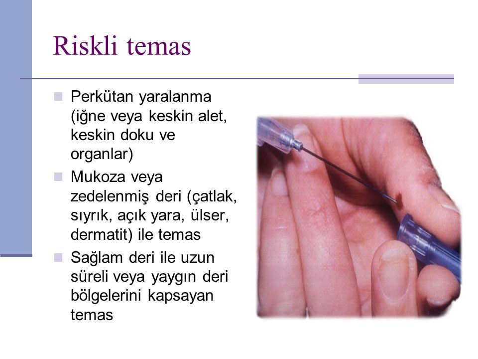 Riskli temas Perkütan yaralanma (iğne veya keskin alet, keskin doku ve organlar) Mukoza veya zedelenmiş deri (çatlak, sıyrık, açık yara, ülser, dermat