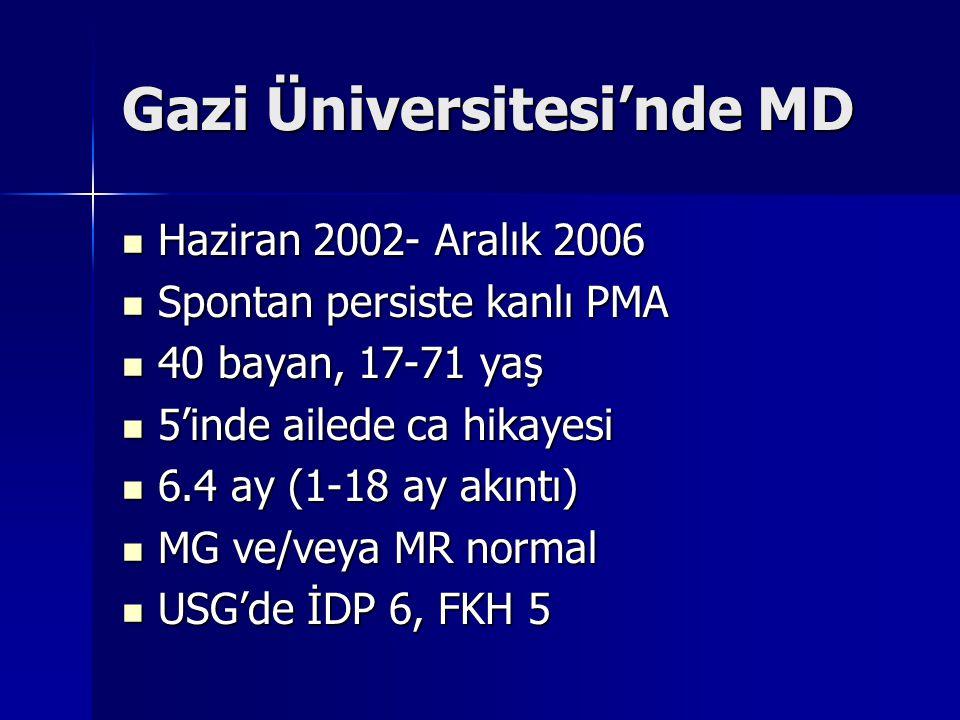 Gazi Üniversitesi'nde MD Haziran 2002- Aralık 2006 Haziran 2002- Aralık 2006 Spontan persiste kanlı PMA Spontan persiste kanlı PMA 40 bayan, 17-71 yaş