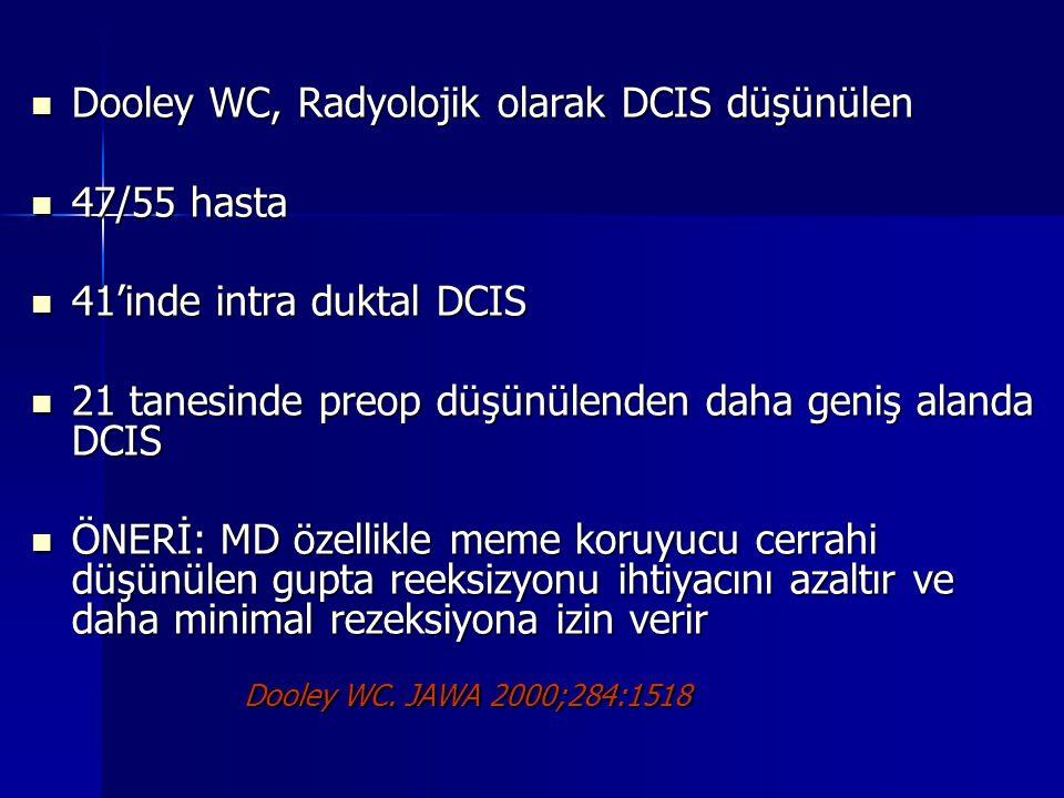 Dooley WC, Radyolojik olarak DCIS düşünülen Dooley WC, Radyolojik olarak DCIS düşünülen 47/55 hasta 47/55 hasta 41'inde intra duktal DCIS 41'inde intr
