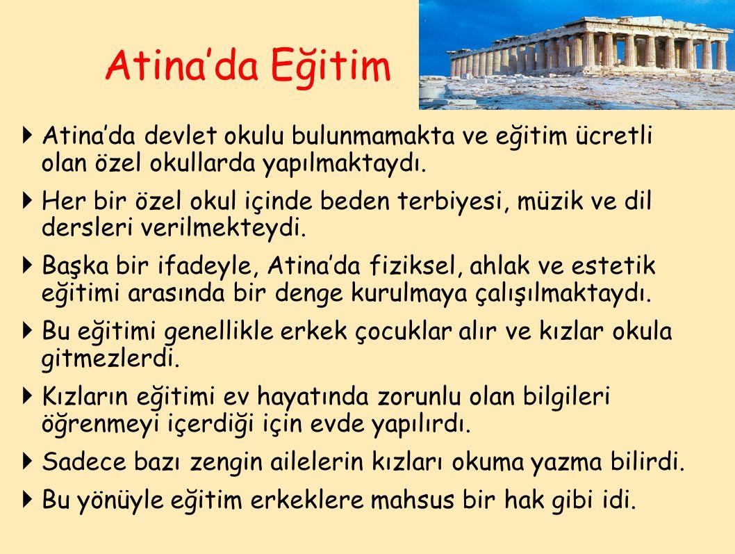  Atina'da devlet okulu bulunmamakta ve eğitim ücretli olan özel okullarda yapılmaktaydı.