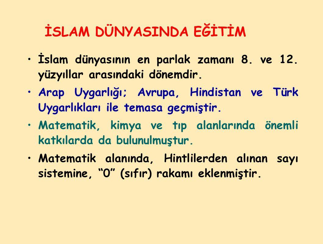 İSLAM DÜNYASINDA EĞİTİM İslam dünyasının en parlak zamanı 8.
