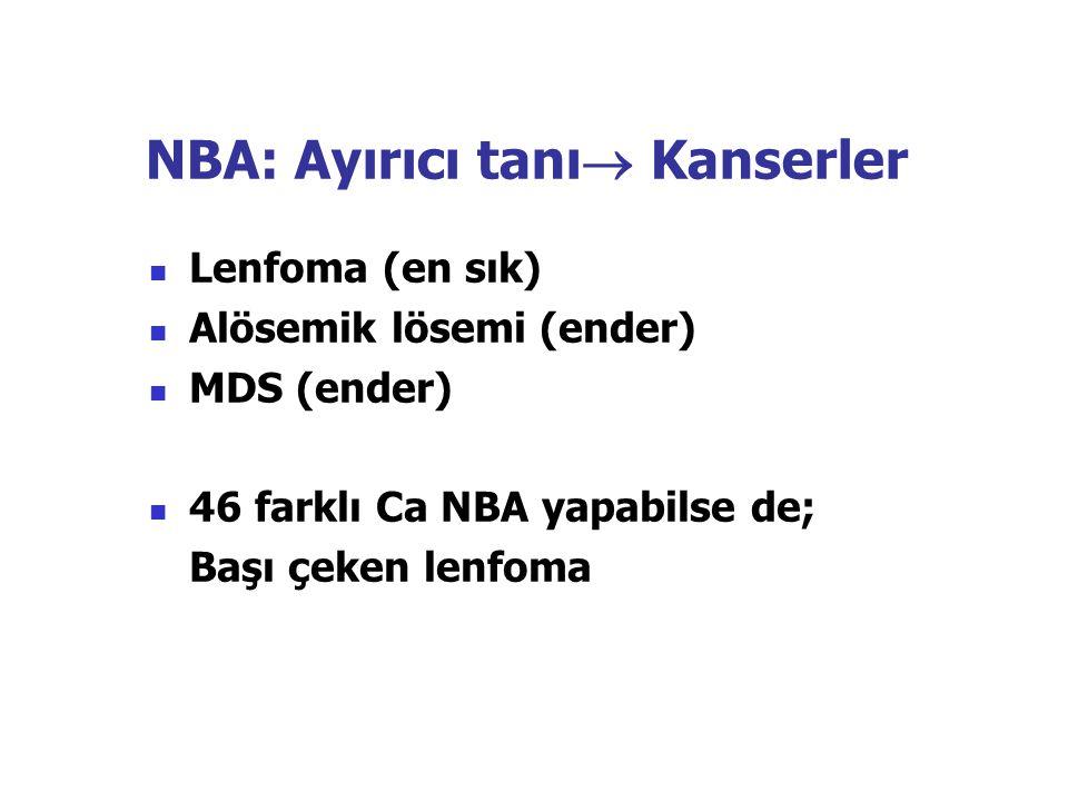 NBA: Ayırıcı tanı  Kanserler Lenfoma (en sık) Alösemik lösemi (ender) MDS (ender) 46 farklı Ca NBA yapabilse de; Başı çeken lenfoma