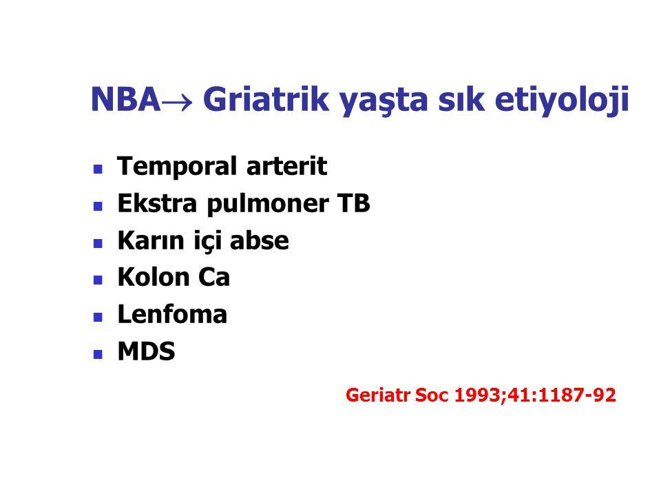NBA  Griatrik yaşta sık etiyoloji Temporal arterit Ekstra pulmoner TB Karın içi abse Kolon Ca Lenfoma MDS Geriatr Soc 1993;41:1187-92